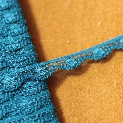 画像1: 5m!幅0.9cm小花柄ラッセルレース 綺麗なブルー (1)