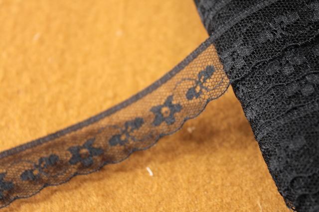 画像1: 5m!幅1.8cmキュートな小花柄ラッセルレース 黒 (1)