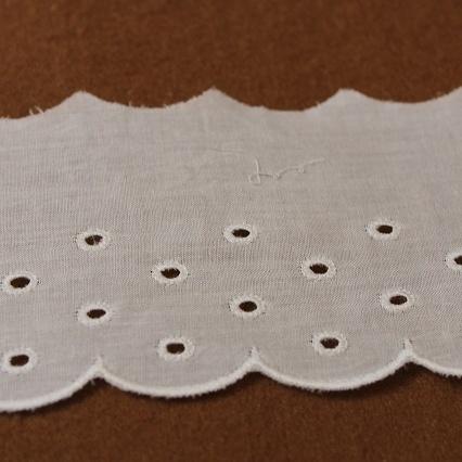 画像1: 6m巻!幅6.5cmドット柄可愛い綿レース ホワイト (1)