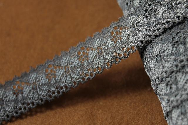 画像1: 10m!幅2.1cm花柄ラッセルストレッチレース チャコールグレー (1)