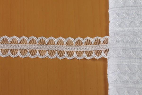 画像1: 7m!幅1.8cm両山スカラの光沢のあるラッセルレース ホワイト (1)