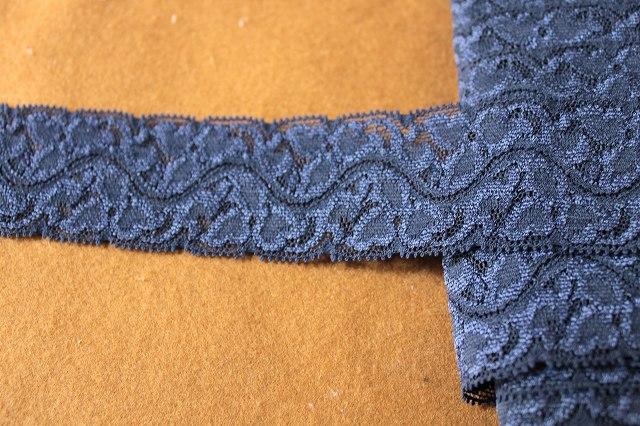 画像2: 3m!幅4.3cm豪華な落下版ラッセルストレッチレース ネイビー
