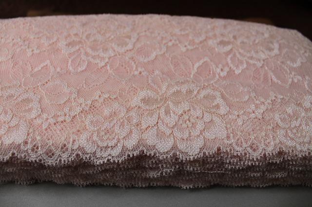 画像5: 5m!幅13.3.cm美しい薔薇柄ラッセルストレッチレース ピーチ色