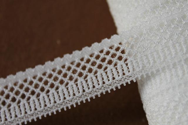 画像1: 5m!幅2.2cm綺麗な網目のラッセルストレッチレース オフホワイト (1)