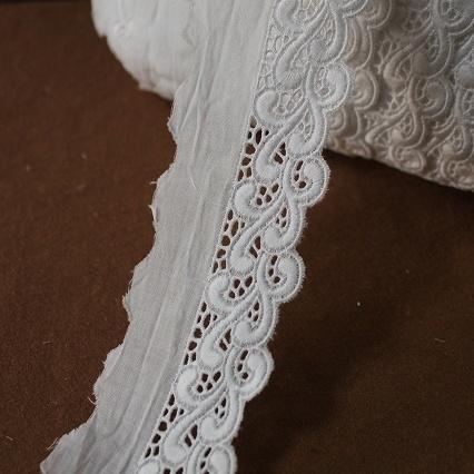 画像1: お買い得108m巻!幅4.9cmボリュームのある波柄綿レース ホワイト (1)