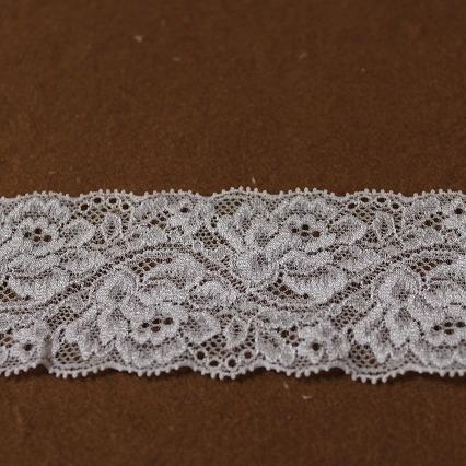画像1: ラッセルストレッチレース パープル 幅5.5cm綺麗な薔薇柄 3m巻! (1)