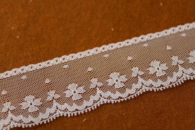 画像1: 5m!幅4cm可愛い小花柄ラッセルレース ホワイト (1)