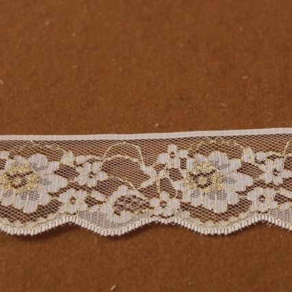 画像1: ラッセルレース 金ラメ/ホワイト 5m巻!4.4cm小花柄日本製 (1)