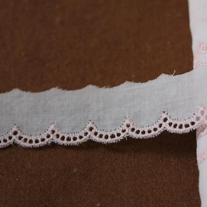画像1: 綿レース ホワイト/ピンク 1m巻!幅2cm!可愛いスカラ (1)