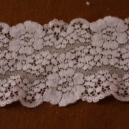 画像1: ラッセルストレッチレース ベージュ 幅8cm花柄 3m巻 (1)