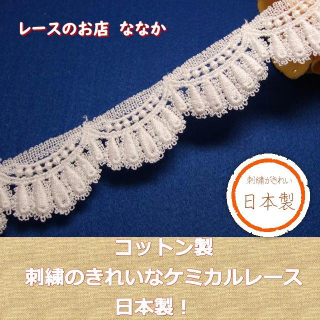 画像1: 3m!幅3cm美しいスカラの綿ケミカルレース オフホワイト (1)