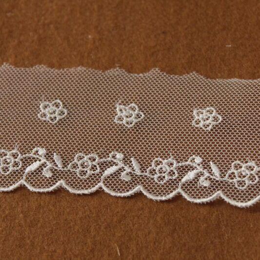 画像1: 3m巻!幅4.7cm2段の小花柄チュールレース ホワイト (1)
