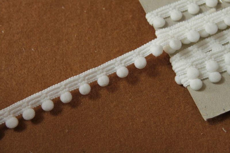 画像1: 1m!幅1.2cm可愛いドットのふわふわレース オフホワイト (1)