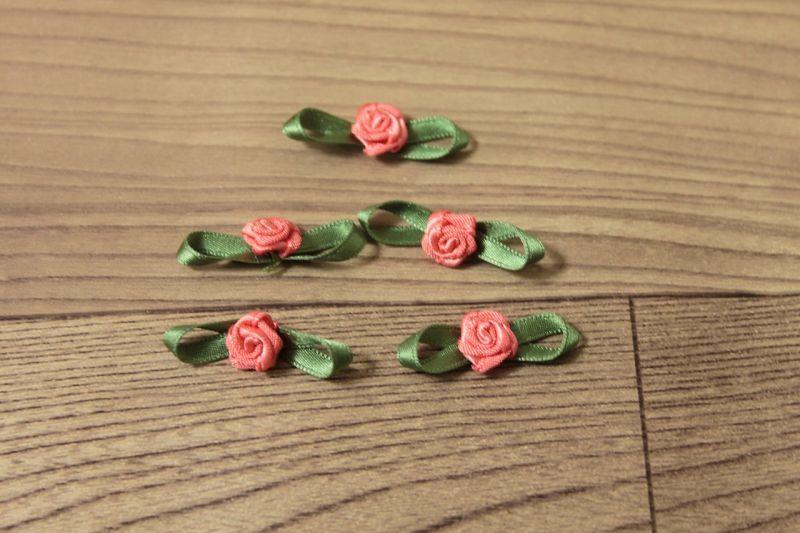 画像1: 5個セット!幅3cmリボンと薔薇のモチーフ オレンジグリーン ハンドメイドに (1)