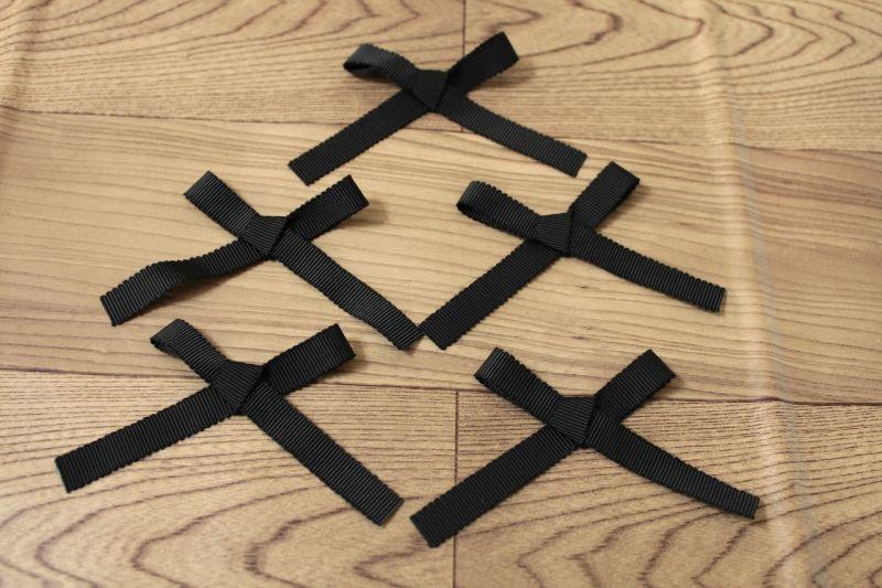 画像1: 8個セット!幅9.6cmリボンモチーフ ブラック ハンドメイドに (1)