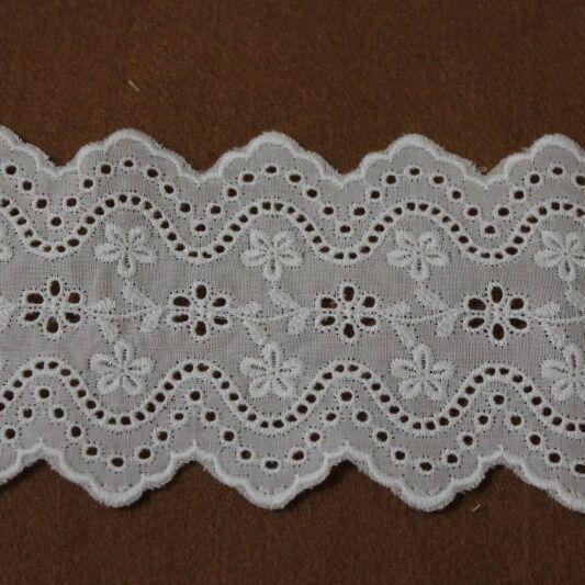 画像1: 綿レース オフホワイト 幅7.3cm刺繍のきれいな両山 3m巻 (1)