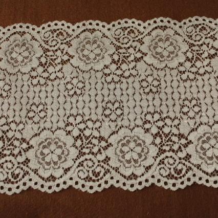 画像1: ラッセルレース オフホワイト マスク 幅14.2cm両山花柄 1m (1)