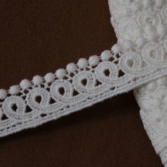 画像1: 綿ケミカルレース オフホワイト 3m巻!幅2.8cmドット柄 コットンレース (1)