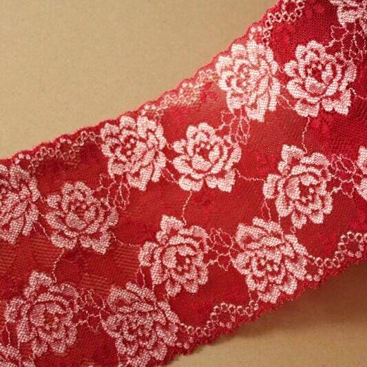 画像1: 3m!幅13.5cm綺麗な薔薇柄ラッセルストレッチレース 赤 日本製 (1)