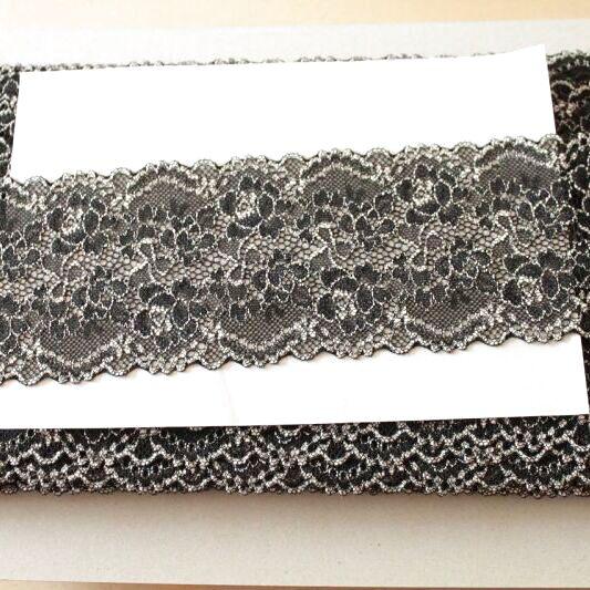 画像1: ラッセルストレッチレース 黒オフホワイト 5m巻!幅8.5cm薔薇柄 (1)