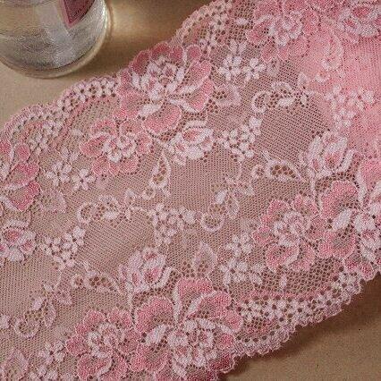 画像1: 5m!幅16.7cm華やかな薔薇柄ラッセルストレッチレース ピンク日本製 (1)