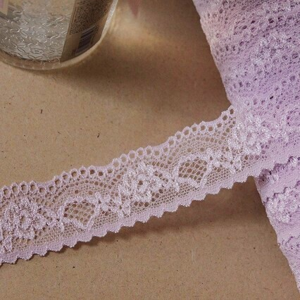画像1: ラッセルストレッチレース さわやかパープル 3m!幅3cm綺麗な薔薇柄 (1)