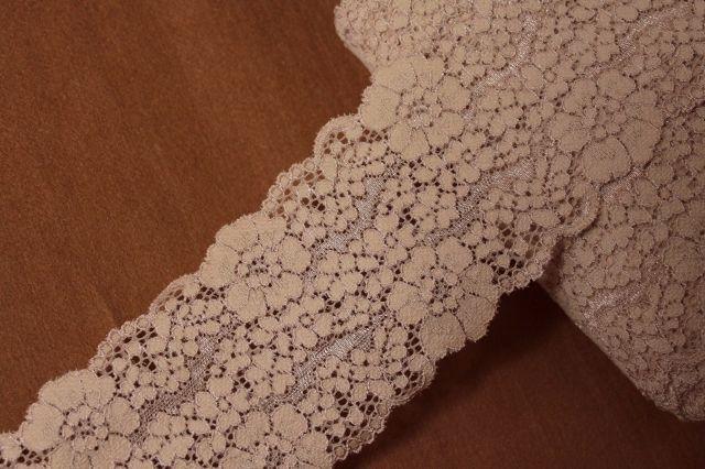 画像1: 5m!幅8.2cm花柄ラッセルストレッチレース ヌーディなブラウン (1)