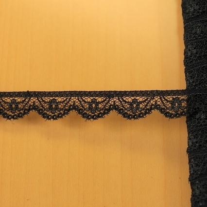 画像1: ラッセルレース ブラック 幅1.3cm小花柄 5m巻 (1)
