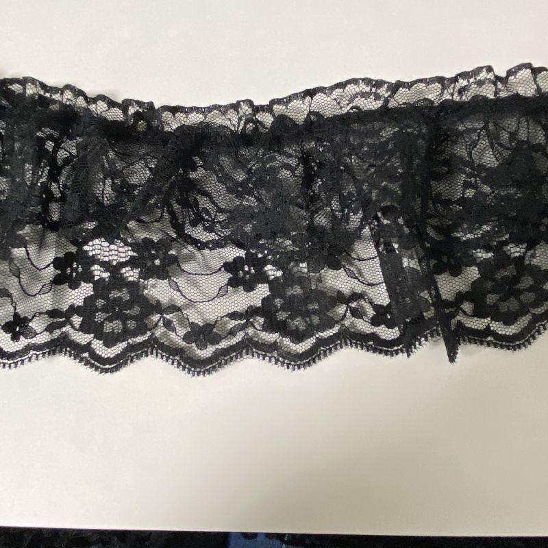 画像1: 1m!9.5cm2段フリルゴムシャーリングレース ブラック (1)