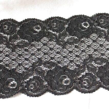 画像1: 5m!幅12.6cmコード使い薔薇柄ラッセルストレッチレース 黒日本製 (1)