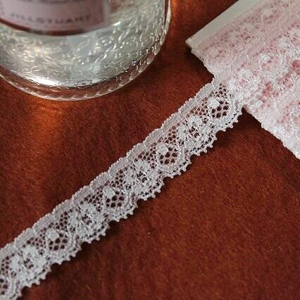 画像1: 高品質な日本製!3m!幅1.6cm綺麗な花柄ラッセストレッチレース 可愛いピンク (1)