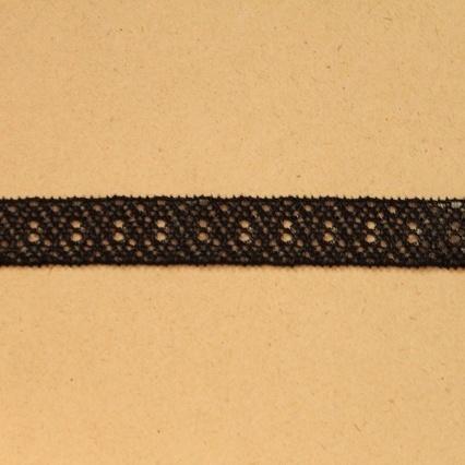 画像1: 10m!幅1.2cm美しいラッセルストレッチレース ブラック マスクゴム (1)