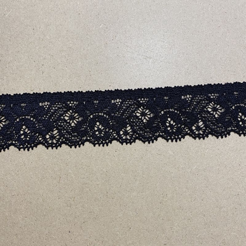 画像1: ラッセルストレッチレース 黒 10m巻!幅2.9cm綺麗な薔薇柄 (1)