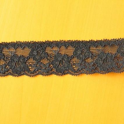 画像1: ラッセルストレッチレース 黒 幅3cm 薔薇柄 10m! (1)