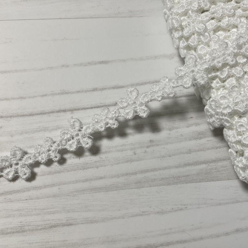 画像1: 綿ケミカルレース オフホワイト 幅1cm大小のお花柄 6m! (1)