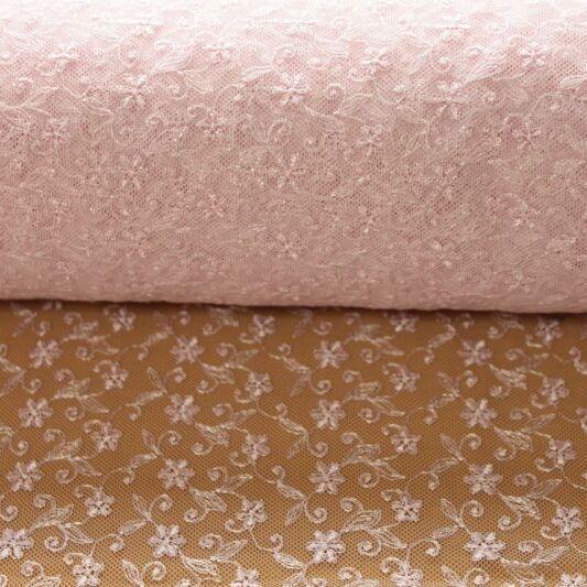 画像1: 幅90cm!1m!広幅上品な小花柄チュールレース ピンク (1)
