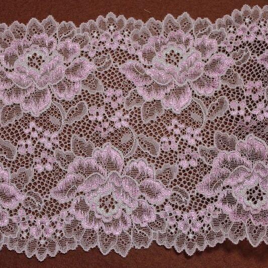 画像1: ラッセルストレッチレース ピンク 幅16cm 光沢のある薔薇柄 3m巻 (1)