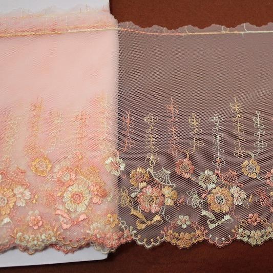 画像1: チュールレース オレンジ 幅19cm 花かごとリボン柄 3 m (1)