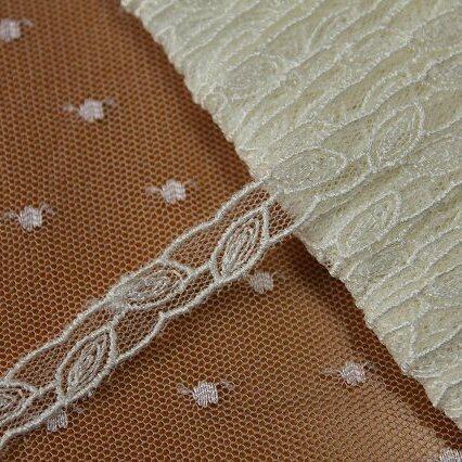 画像1: チュールレース オフホワイト 幅0.8cm繊細な葉柄 13m巻! (1)
