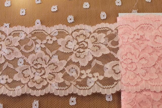 画像1: 幅8.6cm綺麗なバラ柄ラッセルレース ピンク (1)