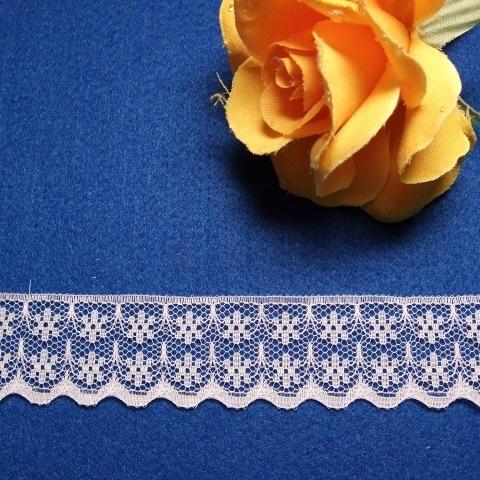 画像1: ラッセルレース 白 幅2.2cm小花柄 10m巻 (1)
