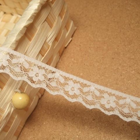 画像1: 10m!幅1.5cmキュートな小花柄ラッセルレース 白 (1)