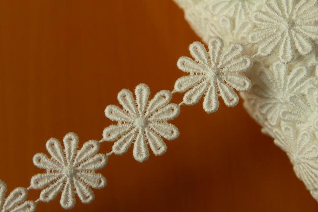 画像1: 1m!幅2.5cmお花の綿ケミカルレース オフホワイト (1)