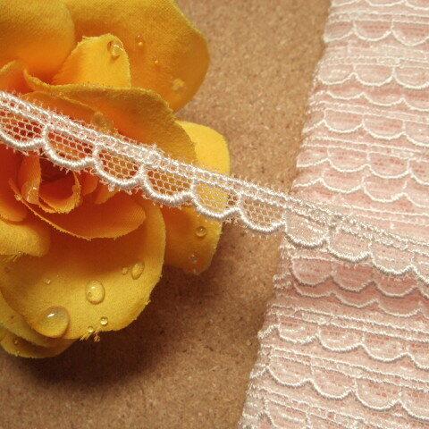 画像1: チュールレース ピンク 幅0.7cm 可愛いスカラ 3m巻 (1)